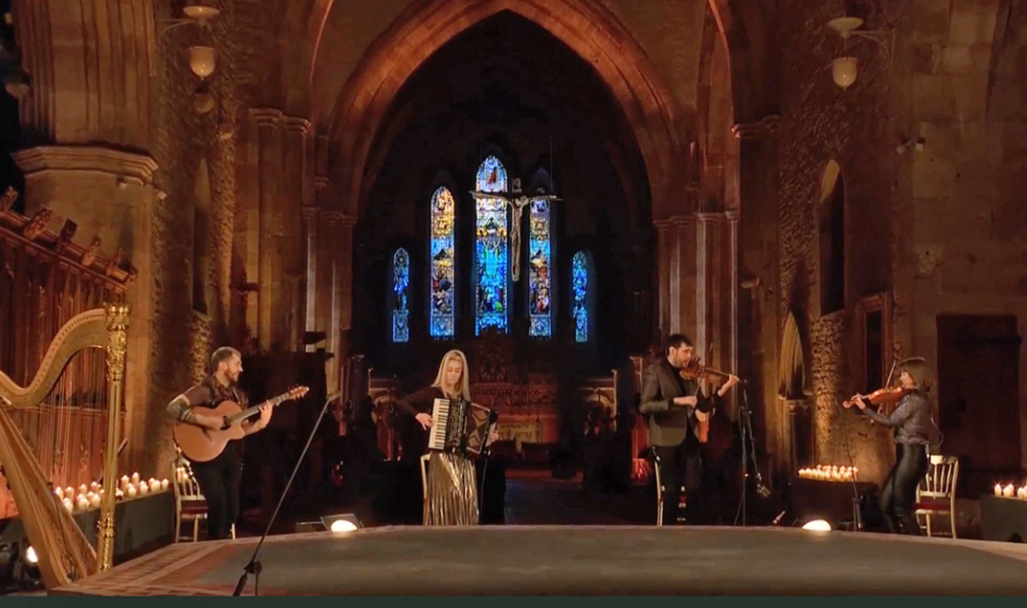 Calan playing at Brecon Cathedral for the Metropolitan Opera