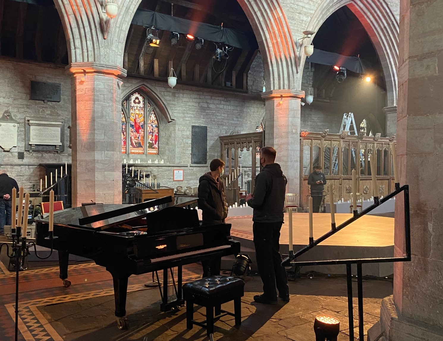 Setting up the cathedral for filming