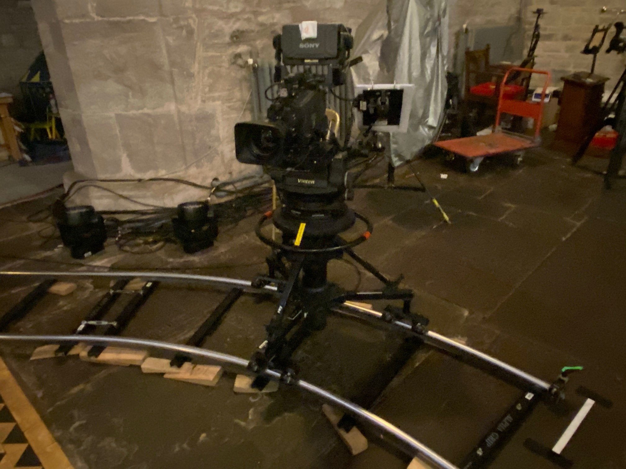Huge amounts of tracking for the mobile filming were laid out in the cathedral
